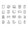 device charcoal draw line icons set vector image vector image