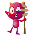 devil with road sign on white background vector image vector image