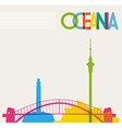 Diversity monuments of Oceania famous landmarks vector image
