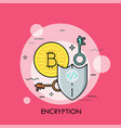 encryption thin line concept vector image vector image