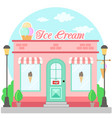 facade ice cream shop with a signboard awning and vector image