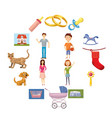 family set icons vector image vector image
