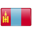 Flags Mongolia in the form of a magnet on vector image vector image