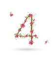 Floral number four for your design vector image vector image