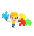 funny cartoon builder vector image vector image