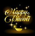 golden happy diwali congratulation with stars on vector image