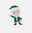 green santa claus something angry shows something vector image vector image