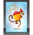 Happy Birthday with monkey gift vector image