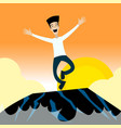 happyman jumping on the rocks vector image vector image