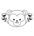 head cute monkey with flowers decoration vector image vector image