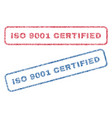iso 9001 certified textile stamps vector image vector image