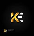 ke letters logo black background vector image
