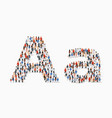 large group people in letter a form vector image vector image