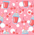 lemonade juice beverage with cherries vector image