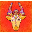 line decorative drawing indian cow head floral vector image