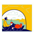 man and cat characters sitting inside camping vector image