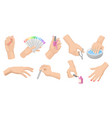 manicure procedure set with women s hands nail vector image vector image