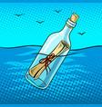 message in bottle pop art vector image vector image