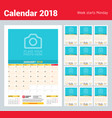 monthly calendar planner template for 2018 year vector image vector image
