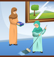 muslim mother and daughter doing chores at home vector image