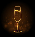 neon sign of champage glass on gold background vector image vector image
