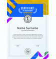 official white certificate with blue yellow design vector image vector image