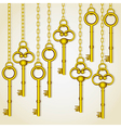 old golden keys dangling chain links vector image vector image