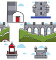 portugal bridge and brick tower lighthouse vector image vector image
