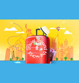 red plastic suitcase with abstract cityscape with vector image vector image