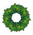 round wreath of green leaves vector image vector image