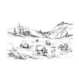 rural landscape with cows and farm mountain vector image vector image