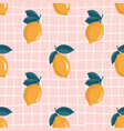 seamless summer pattern with lemons on retro vector image