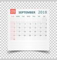 september 2018 calendar calendar sticker design vector image vector image