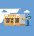 shop building businessman with key vector image vector image