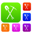 shovel and pickaxe set collection vector image vector image