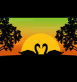 silhouette of swan on the hill scenery vector image