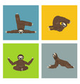 sloth yoga collection funny cartoon animals in vector image