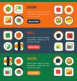 sushi banner horizontal set vector image vector image