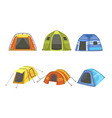 tourist tents set hiking and camping equipment vector image