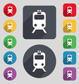train icon sign A set of 12 colored buttons and a vector image vector image