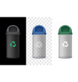 transparency garbage bin with green cap vector image