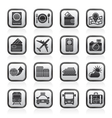 transportation and vacation icons vector image