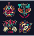 vintage tattoo studio colorful badges vector image vector image