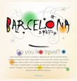 welcome to spain barcelona travel design vector image vector image
