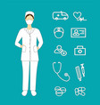 woman doctor with medical and health icons vector image
