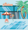 woman in the pool scene travel ilustration vector image vector image