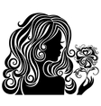 Silhouette of a girl with a flower vector image