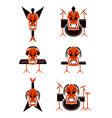 skull music tribal tattoo set vector image
