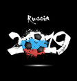 2019 new year and a soccer ball as flag russia vector image