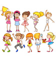 A group of young girls vector image vector image